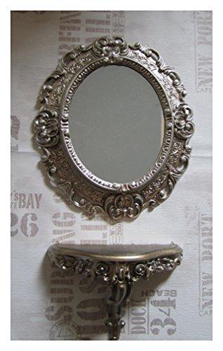 SET Altsilber Wandspiegel + Konsole M OVAL Wandkonsole Barock Antik 44x38 Flur Eingangsmöbel Möbel Konsole Ablage Spiegel