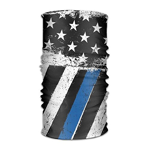 Voxpkrs Women Men American Flag Thin Blue Line Fashion Headscarf Outdoor Sport Headwear Bandanas Multifunction Magic Scarf,Neck Gaiter,Hand Wrap,Neck Balaclava for UV Resistence