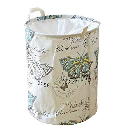 Kimjun Baumwolle Leinen Runden Faltbare Wäschekörbe Wäschesammler Wäschebox Kinder Spielzeug Aufbewahrungskorb Aufbewahrungsbox mit deckel (Schmetterling)