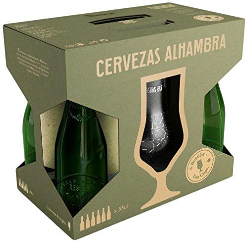 Alhambra Reserva 1925 Cerveza Nacional Extra - Estuche de 6 Botellas x 33 Cl con Regalo de una Copa - Total: 198 Cl