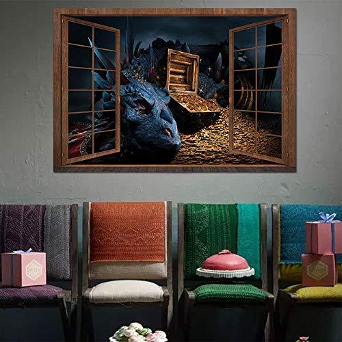 WANGZZZ 3D Gefälschte Fensterwandaufkleber Halloween Schätzt Üble Dracheleuteaufkleber