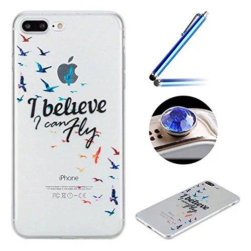 Etsue Custodia iPhone 7 Plus Trasparente,Colorate Dipinto Modello Con Disegni,iPhone 7 Plus Cover in Silicone Tpu Flessible Sottile Antiscivolo e Antigraffio Protettivo Cover Bumper Case Per iPhone 7  fly