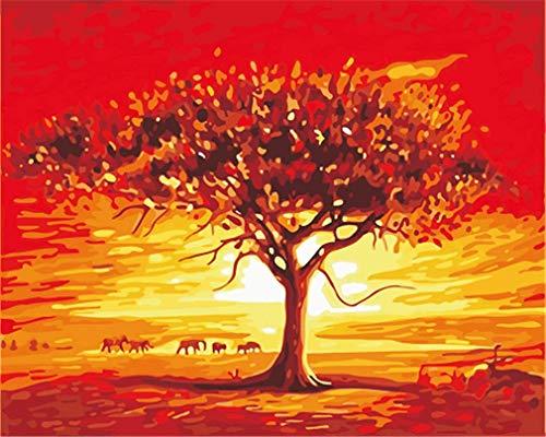 YEESAM ART Neuheiten Malen nach Zahlen Erwachsene Kinder, afrikanisch Elefant, Baum der Hoffnung, Sonnenuntergang 40x50 cm Leinen Segeltuch, DIY ölgemälde Weihnachten Geschenke
