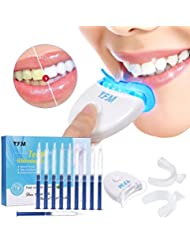 Luckyfine Teeth Whitening Kit Zu Hause Professionelle Zahnaufhellung Set Zahnweiß-Bleichsystem, 10x Teeth Whitening 2x Dental Trays Gel Kit & Laserlicht