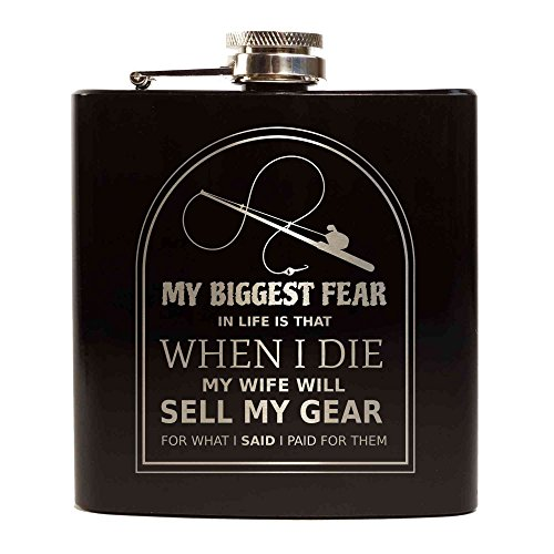chwertiger Flachmann Hip Flask 6oz Für Alkohol Whisky / Vodka / Gin - Schwarz (Greatest Fear in Life Fishing) ()