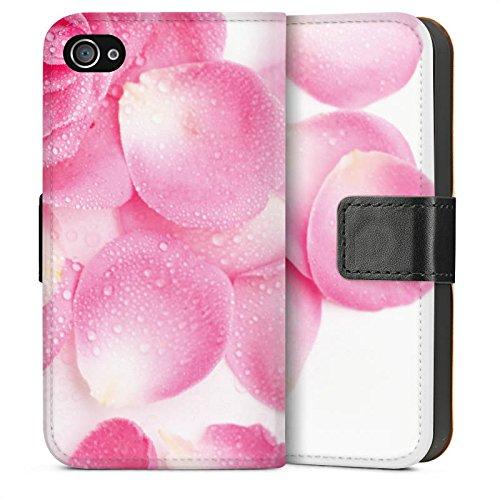 Apple iPhone 5s Housse Étui Protection Coque Rose Feuilles de roses Rose vif Sideflip Sac