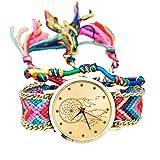 huihuay Montre à Quartz pour Femme Style National Tressé Style Ethnique Bracelet tressé