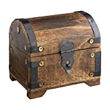 Caja de madera - Cofre del tesoro pirata - Arcón de madera oscura - Cajas para almacenamiento - Joyero - Hucha - Alhajera - Cofre de madera grande - 14 x 11 x 13 cm
