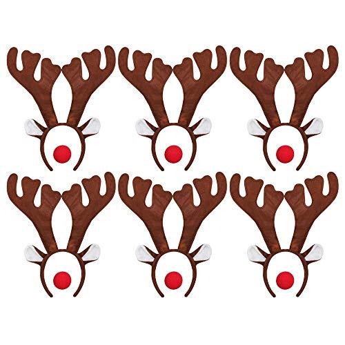ILOVEFANCYDRESS 6 Rudolf RED Nose Santa Rentier HÖRNER GEWEIHE MIT 6 ROTEN Schaumstoff NASEN = Betriebsfeier Weihnachten Xmas Schlitten KOSTÜM VERKLEIDUNG Fasching Gruppen (Rot Cupid Kostüm)