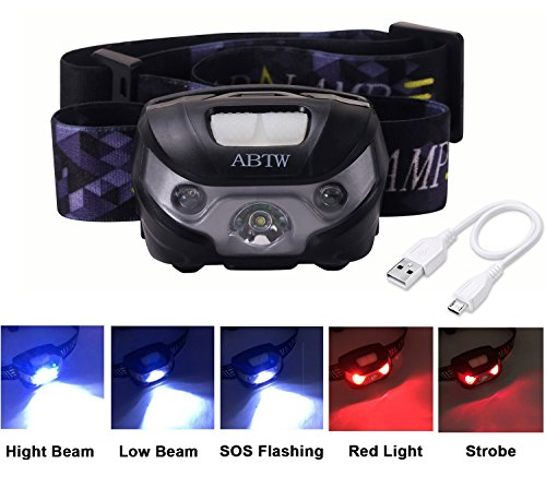 LED Head Torch / Headlamp, Rechargeable LED Waterproof, Perfect for Night Reading / Camping / Fishing / Adventures / Cave Exploration / Mountaineering / Climbing / Cycling, etc. with USB Cable