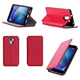 Huawei Honor 7 / Honor 7 Premium 4G/LTE Dual Sim Tasche Leder Hülle rot Cover mit Stand - Zubehör Etui Huawei Honor 7 Flip Case Schutzhülle (PU Leder, Handytasche red) - XEPTIO accessories