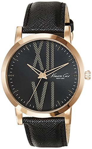 KENNETH COLE MEN'S 43.5MM BLACK LEATHER BAND STEEL CASE QUARTZ WATCH 10014809