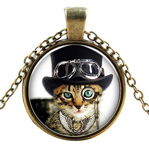 UINGKID Kette Damen Halskette Schmuck Anhänger Ausverkauf Mode Retro Punk Glas Runde Schwarz Coole Katzen Halskette Damen Schmuck
