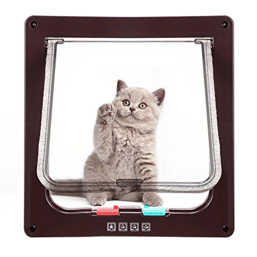 Katzenklappe Hundeklappe mit 4-Wege-Magnet-Schließ,Haustierklappe für Katzen und kleine Hunde, Katzentüre mit Tunnel,Installieren Leicht mit Teleskoprahmen (L-23.5 x 25cm, Braun) -
