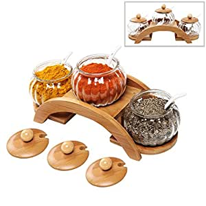 (Set of 3) Clear Glass Condiment Spice Jars, Ceramic Serving Spoons & 2 Tier Wood Display Rack - MyGift® by MyGift