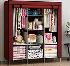 Fashionable Clothes Closet Portable Wardrobe Storage Organizer with Shelves Multilayer Sturady Durable Construction Stroage Cabinet (Color- According to Stock Availablity)