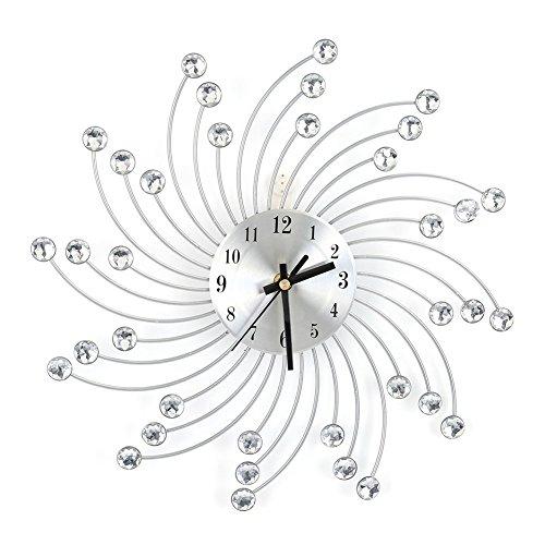 Cocoarm Wanduhr Groß Leise 3D Metall Wanduhr Diamanten Dekorative Uhr Wanduhr Home Büro Wohnzimmer Dekoration Geschenk (Silber)