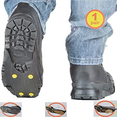 SNOW ICE GRIPPERS NON SLIP FOR BOOTS SHOES GRIPS OVERSHOE 6 SPIKE CRAMPONS (LARGE UK SIZE 9-12)
