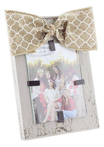 Clairmont 15,2x 10,2cm Wood Block & Jute Schleife Foto Rahmen für 7,6x 10,2cm Foto, Holz, Grey with Cream Quatrefoil, 6