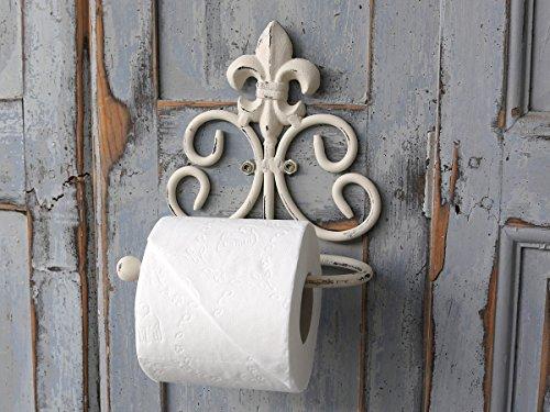 Toilettenpapierhalter Papierrollenhalter Metall antik- weiß Shabby-Chic Lilie WC (Weiss Metall Handtuchhalter)