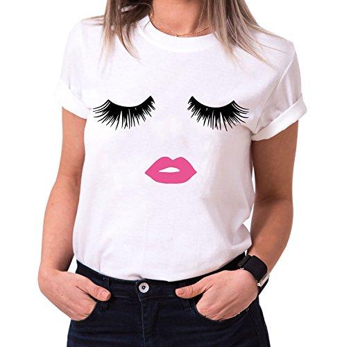 Wimpern Lippen Trendiges Damen T-Shirt Boyfriend Stil Baumwolle mit Druck, Farbe:Weiß;Größe:L