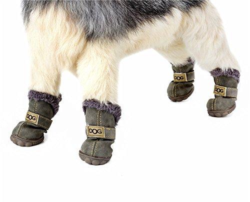 SUPEREX 4Stk Hunde schützende Stiefel, Outdoor Winter Sport antirutsch Hündchen Schuhe (Matte grün, S)