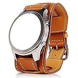 22MM Bracelet de manchette en cuir véritable avec bracelet de montre pour Samsung Gear S3 Frontier...