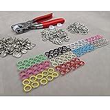 Dealglad® 100 bottoni, colori assortiti, 9,5 mm, set da 10 bottoni per ogni colore, in rame, bottoni automatici, con Anelli e pinze