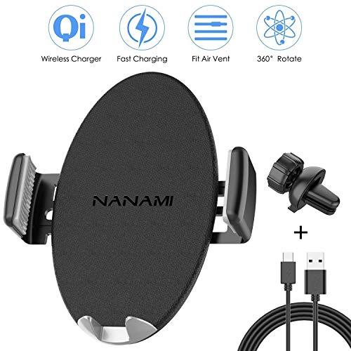 NANAMI Qi Kfz Handy Halterung Ladegerät,Selbstklemmend Wireless Charger Induktions Ladegerät für iPhone XS Max XS XR X 8 8 Plus, Induktive Ladestation Auto Lüftung Halter für Samsung Galaxy S9 S8 usw.