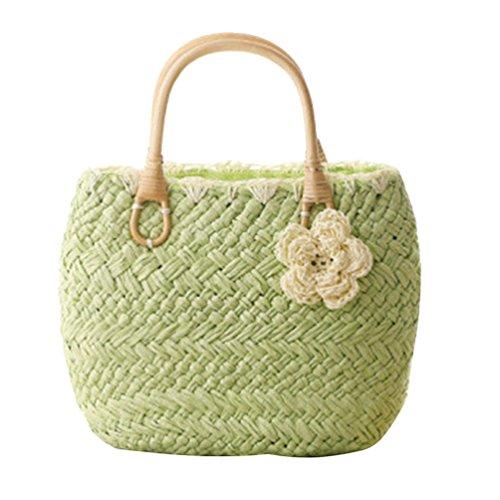 YOUJIA Stroh Taschen Blumen Casual Handtaschen Damen Tragetaschen Für Sommer / Strand #1 Green