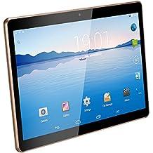 10.1 pulgadas de Tablet PC Android 5.1 Lollipop 3G SIM Dual IPS pantalla 1280x800 desbloqueado Smartphone tabletas PC 1 GB, 16 GB de memoria, Wi-Fi Quad Core, 2MP frontal y 5MP de la cámara trasera 5000 mAh (10.1 Negro)