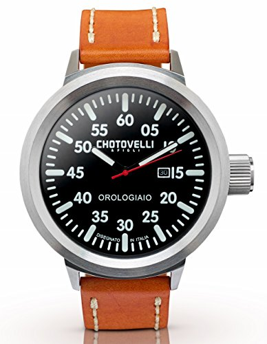Chotovelli große Fliegeruhr -Herren Armbanduhren -Saphirglas -Karamell Leder 747.3