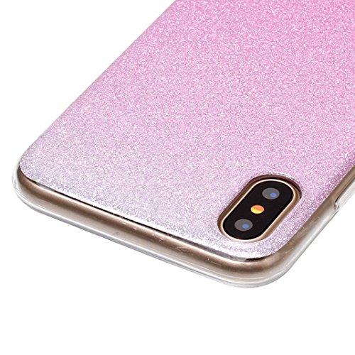 Rosa Schleife iPhone X Glitzer Hülle Ultra Dünn Weiche Silikon TPU Backcover Bling Schale Rosa