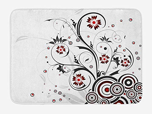 ASKYE Floral Bath Mat, Modern Design Flower Leaves Buds in Swirl with Retro 60s Circles Image, Plush Bathroom Decor Mat with Non Slip Backing, 23.6 W X 15.7 W Inches, Magenta Black and White White Swirl Glass Bowl