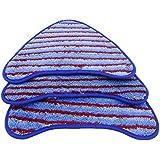 Pack de 3 almohadillas de limpieza Pro lavables de repuesto con Microfibra Blue Stripe y Velcro para limpiadores de vapor (Steam Cleaner) de Vax (Tipo 6)