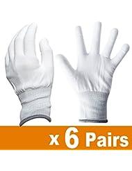Ehdis® Gants de travail blanc en nylon Gants antidérapants extensibles antidérapants pour lavage, Nettoyage de voiture, Nettoyeur de nettoyage ménager - 6 paires