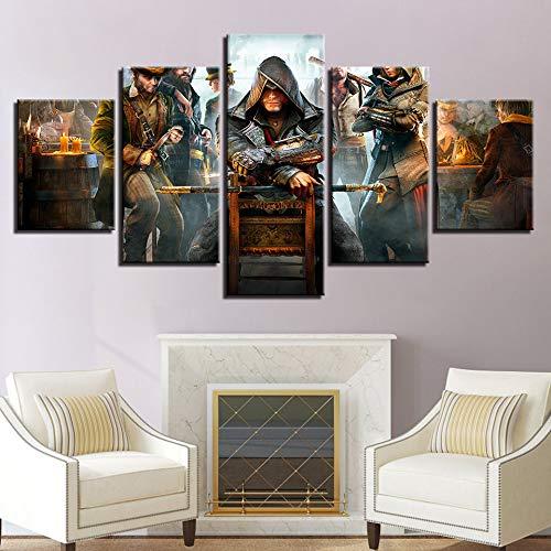 Modern Wohnkultur Wandkunst Rahmen Bilder 5 Stücke Assassins Creed HD gedruckt Malen Auf Leinwand Poster,B,10×15×2+10×20×2+10×25×1