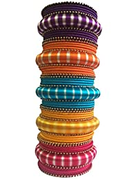 Thirsty Guys Multi Color Silk Thread Bangles Set, Plastic Bangles Set, Silk Dori Bangles Set, Silk Thread Jewellery...