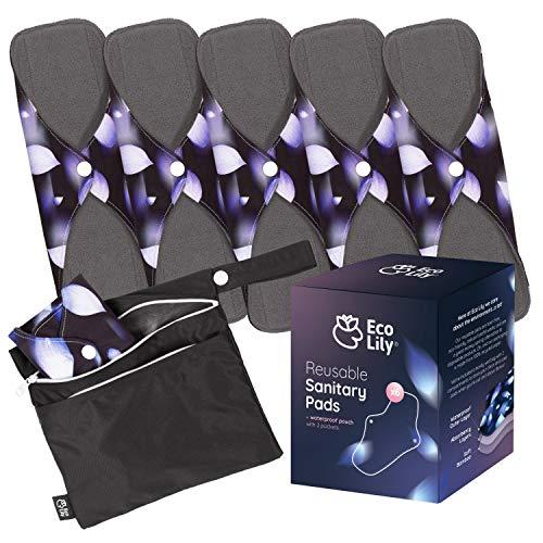 Eco Lily® 6er Pack wiederverwendbare Damenbinden mit Bambuskohle   Waschbare, wasserdichte, saugfähige Menstruationspads für leichte, mittlere und starke Perioden   Bonus Aufbewahrungstasche -