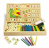 CT Wooden Counting Toy for Kids - Double Sides Board for Teaching Math, Drawing & Writing with Teaching Clock, Times Tables & Wooden Number Blocks - Early Educational Toy for Children