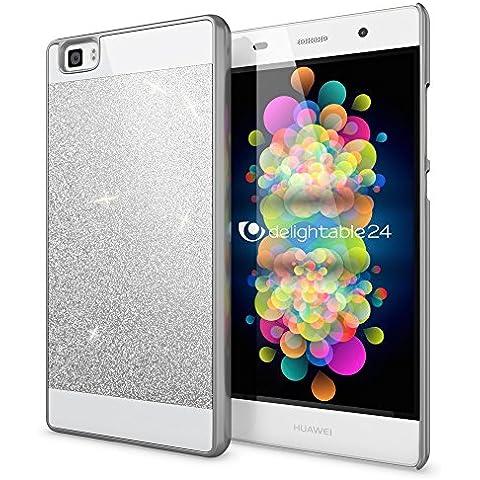 delightable24 Funda Protectora Caso Sparkle Design Case para HUAWEI P8 LITE Smartphone - Plata