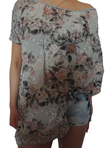 15 verschiedene Farben Damen Blusen Shirt mit Blumenmuster Gr. 46 48 50 52 (Grau)