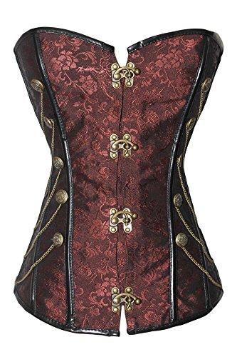r-Dessous Vintage Corsage braun Korsett Shirt Bustier Korsage Top Steampunk Corsagentop Gothic große Größen Groesse: XXL