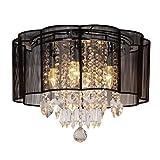 Dst Moderne 4-Beleuchtung Schwarz String Shade Kristall Deckenleuchter Deckenlampen Kronleuchter für Esszimmer Wohnzimmer Schlafzimmer Arbeitszimmer D40cm H33cm