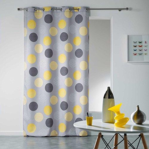 Douceur d'intérieur - tenda con occhielli, in poliestere, poliestere, giallo, 280x140 cm