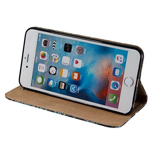 iPhone 6S Plus Hülle,iPhone 6 Plus Hülle,SainCat PU Leder Brieftasche Hülle im BookStyle Wallet Case Lederhülle Folio Schutzhülle Muster Schrubben Ledertasche Hülle Bumper Handytasche Skin Schale Soft Schädel