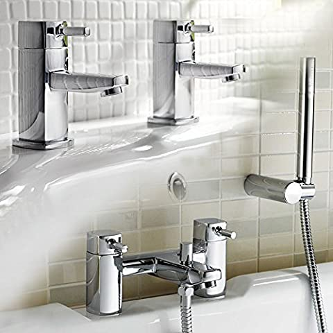 iBathUK | Pair of Hot and Cold Basin Sink Mixer Taps Bath Filler Shower Head Set TP62
