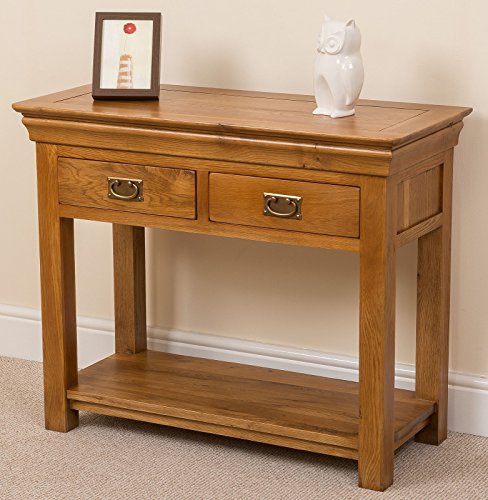 FRENCH RUSTIC SOLID OAK 2 DRAWER CONSOLE HALL TABLE WITH SHELF