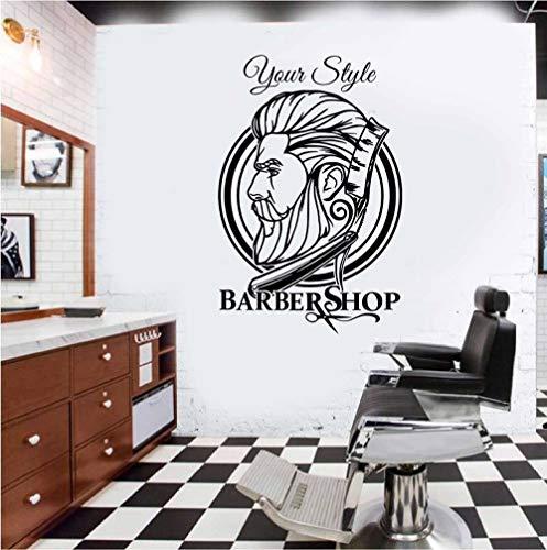 WFYY Personalisierte Wandkunst Aufkleber Hipster Barbershop 58X87Cm