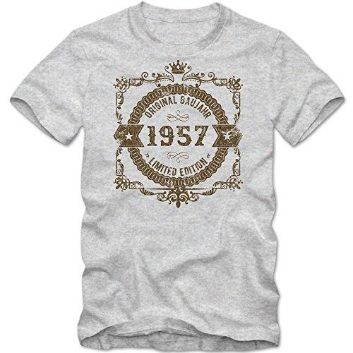 Original Baujahr 1957 Limited Edition T-Shirt   Herren   Geburtstag   Geburtstagskind   Geburtstagsparty   Herrenshirt © Shirt Happenz Graumeliert (Grey Melange L190)